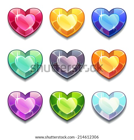 Cartoon vector diamond hearts icons set in different colors on the white background. - stock vector