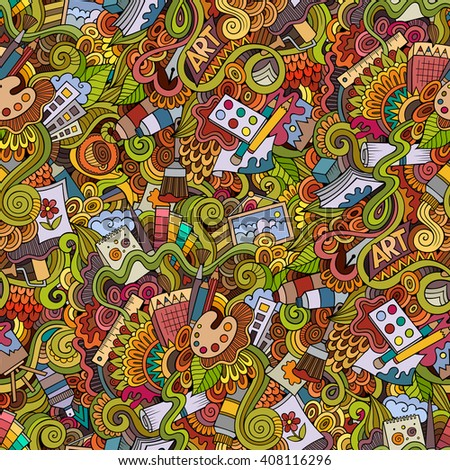 Cartoon vector doodles hand drawn art and craft seamless pattern. Lots of symbols, objects and elements - stock vector