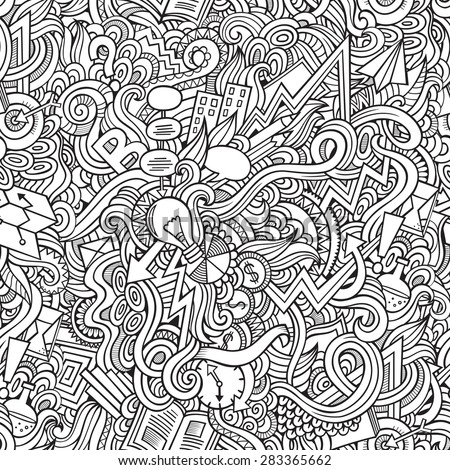Cartoon vector doodles hand drawn idea seamless pattern - stock vector
