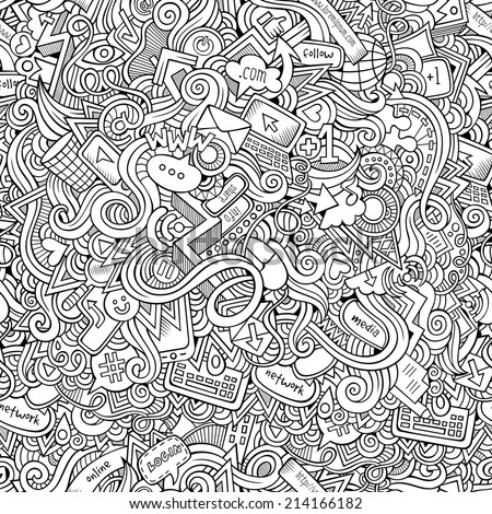 Cartoon vector doodles hand drawn internet social media seamless pattern - stock vector