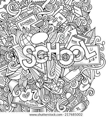 Cartoon vector doodles hand drawn school sketch background - stock vector
