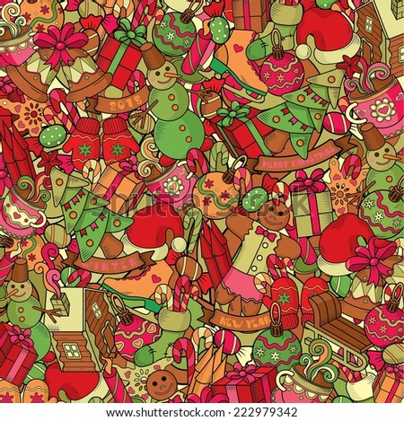 Cartoon vector doodles hand drawn seamless pattern. New Year and Christmas illustration - stock vector