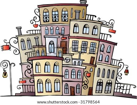 cartoon vector drawing town - stock vector