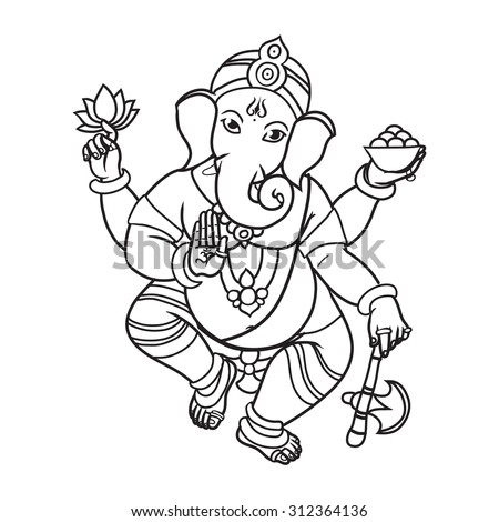 Cartoon vector elephant head God Ganesha. Invitation cards Dawali Holiday or Ganesh Chaturthi. Black and white. Isolated. - stock vector