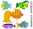 Cartoon vector fish set EPS8 - stock vector