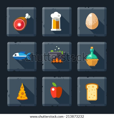Cartoon vector flat relief game icon set on stone. Food and drink: meat, eggs, soup, fish, pizza, cheese, bread, apple, fruit, beer, wine, juice. - stock vector