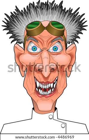 cartoon vector graphic depicting a mad scientist - stock vector
