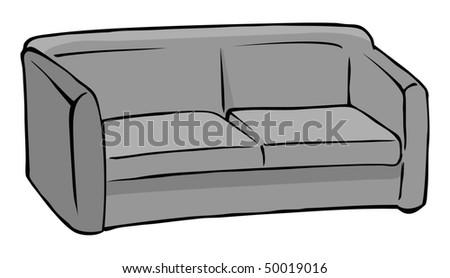 Cartoon Vector Illustration Green Couch Stock Vector