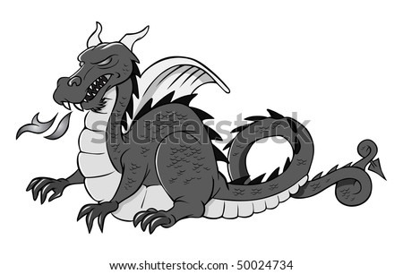 cartoon vector gray scale illustration medieval dragon - stock vector