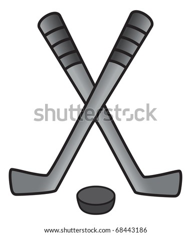 cartoon vector gray scale illustration of a hockey puck and stick - stock vector
