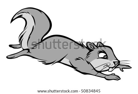cartoon vector gray scale illustration squirrel leaping - stock vector