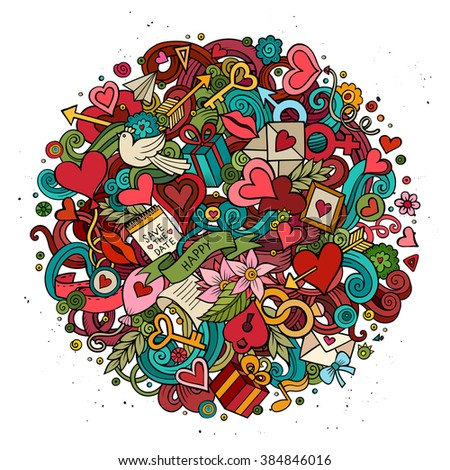 Cartoon vector hand drawn Doodle Love illustration. Colorful detailed design background with objects and symbols. All objects are separated - stock vector