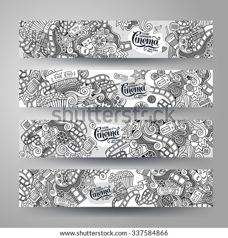 Cartoon vector hand-drawn sketchy Doodle on the subject of cinema. Horizontal banners design templates set - stock vector