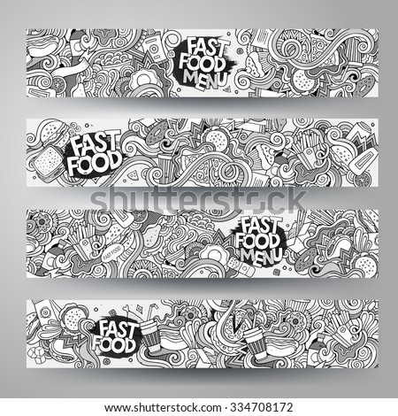 Cartoon vector hand-drawn sketchy Doodle on the subject of fast food. Horizontal banners design templates set - stock vector