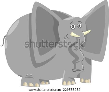 Cartoon Vector Humorous Illustration of Funny African Elephant Animal - stock vector
