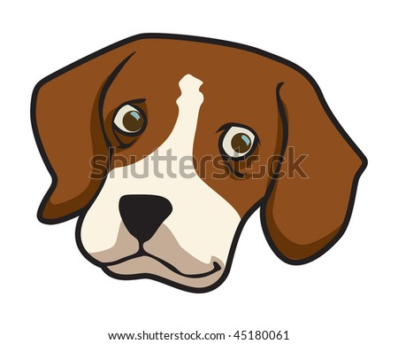 cartoon vector illustration beagle dog - stock vector