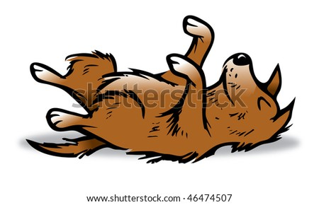 cartoon vector illustration dog playing dead