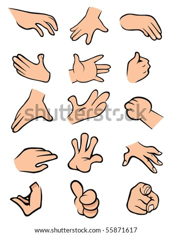 cartoon vector illustration hands poses stock vector royalty free