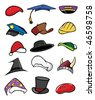 cartoon vector illustration hats caps collection - stock vector