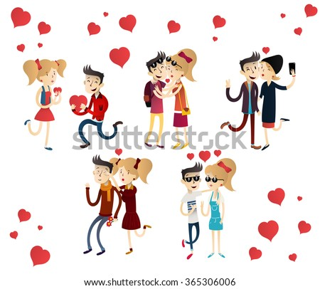 """Cartoon vector illustration hipster couple in love. Hand drawn vector illustration concept  """"Love is"""". St Valentine's day greeting card. Family idyll. Cartoon romantic people in love. - stock vector"""