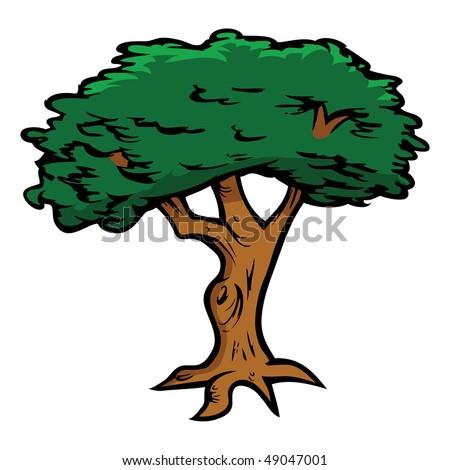 cartoon vector illustration oak tree stock vector 49047001 rh shutterstock com Oak Tree Clip Art oak tree cartoon images