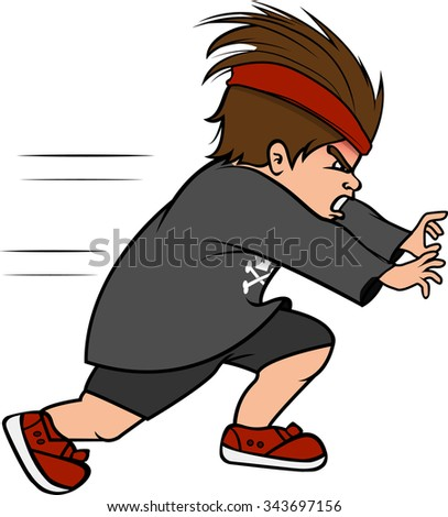 cartoon vector illustration of a boy bully running