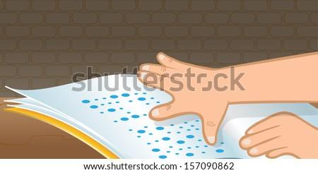 cartoon vector illustration of a braille hand - stock vector