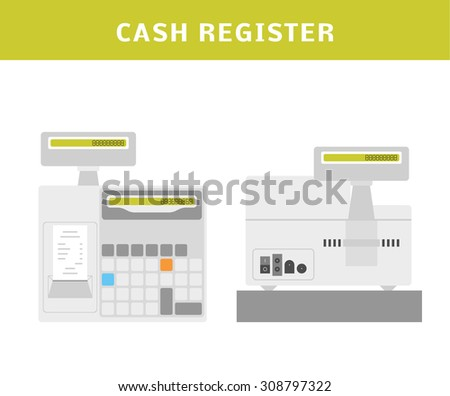 Cartoon vector illustration of a cash register. Top, front view and back view. Flat style illustration.