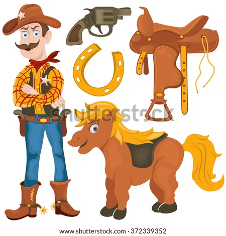 Cartoon vector illustration of a cowboy collection images for coloring book. - stock vector