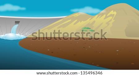 cartoon vector illustration of a dam resevoir - stock vector