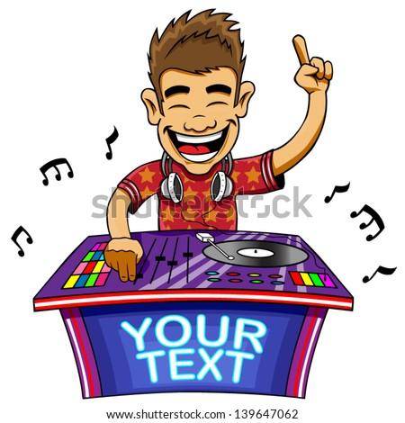 Cartoon vector illustration of a DJ mixing music. - stock vector