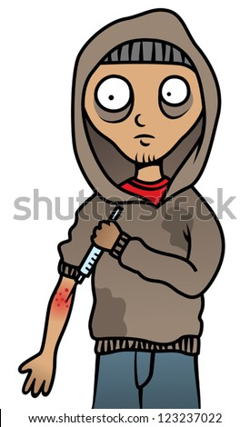 Cartoon vector illustration of a drug addict man addicted to heroin injecting a syringe - stock vector