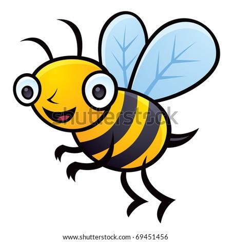 Cartoon vector illustration of a happy little bumblebee flying. - stock vector