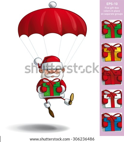 Cartoon vector illustration of a happy Santa Claus falling with a parachute holding a big gift. All gift colors are in-place in separate groups. - stock vector