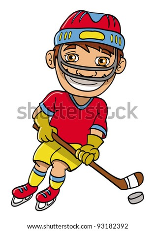 Cartoon Field Hockey Player  Stock Vector 13982517