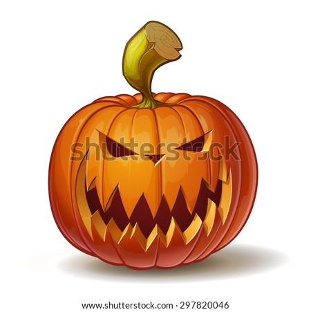 Cartoon vector illustration of a Jack-O-Lantern pumpkin curved in a scary expression, isolated on white. Neatly organized and easy to edit EPS-10 - stock vector