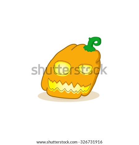 Cartoon vector illustration of a Jack-O-Lantern pumpkin.Halloween jack-o-lantern, pumpkin - isolated illustration. Vector spooky halloween jack o lanterns