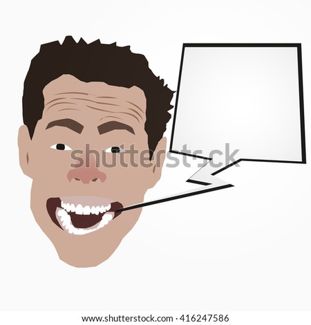 Cartoon vector illustration of a laughing white man with a speech. Easy to edit layered vector EPS10 file scalable to any size without loss of quality. - stock vector