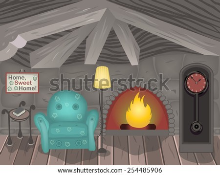 Cartoon vector illustration of a small room. - stock vector