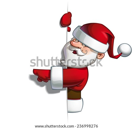 Cartoon vector illustration of a smiling Santa Claus pointing at a blank space. - stock vector