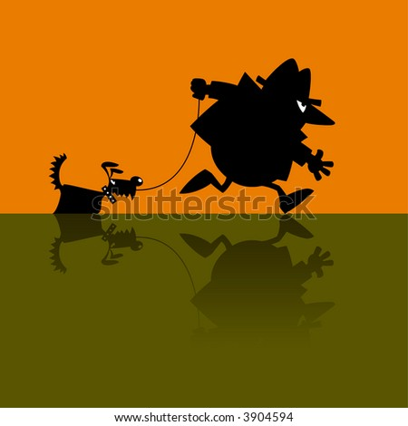 cartoon vector illustration of a spy with a dog - stock vector