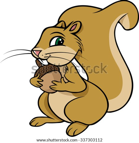 cartoon vector illustration of a squirrel nut