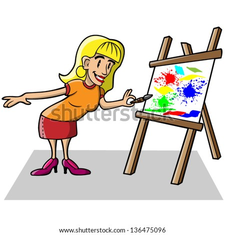 Cartoon vector illustration of a woman painting on canvas.
