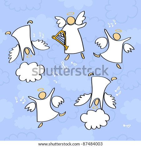 cartoon vector illustration of angels playing and dancing