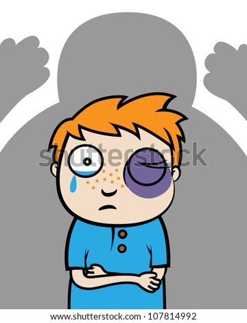 Cartoon vector illustration of bullied boy with black eye or victim of domestic violence - stock vector