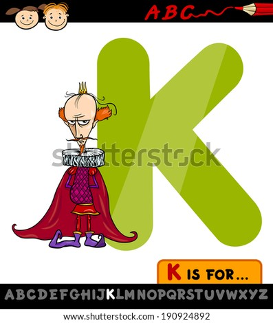 Cartoon Vector Illustration of Capital Letter K from Alphabet with King for Children Education - stock vector