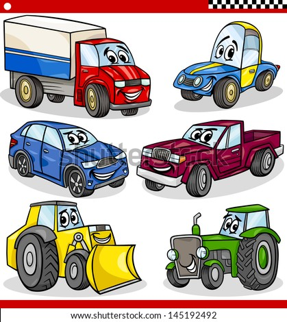 Cartoon Vector Illustration of Cars and Trucks Vehicles and Machines Comic Characters Set for Children - stock vector