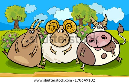 Cartoon Vector Illustration of Country Rural Scene with Farm Animals Goat and Bull and Ram Characters Group - stock vector