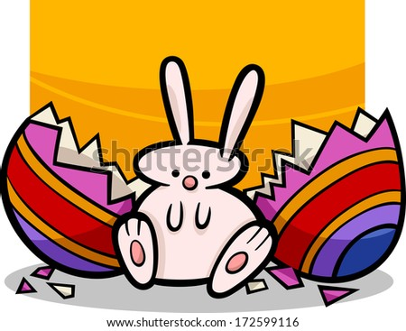 Cartoon Vector Illustration of Cute Easter Bunny which Hatched from Paschal Egg
