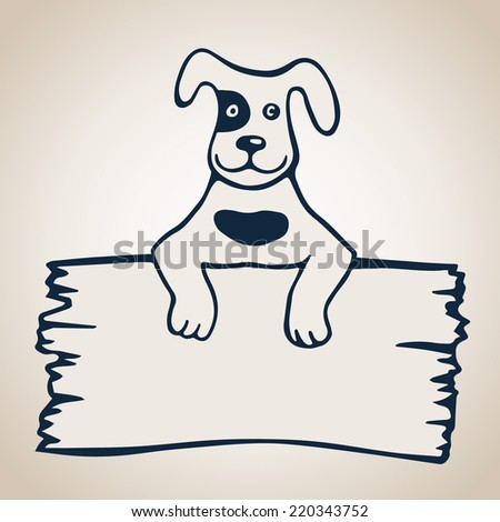 Cartoon Vector Illustration of Dog with Card or Board Greeting or Business Card Design